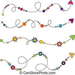 Colorful arrows with flowers and circles