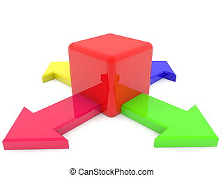 Colorful arrows with red cube
