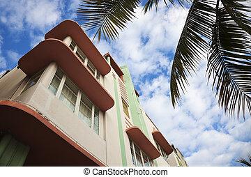 Colorful art deco architecture of Miami Beach