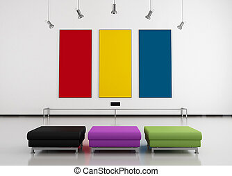red yellow and blue frame in a modern art gallery with three seat-rendering