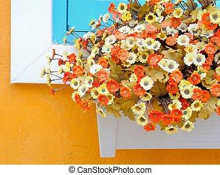 artificial flowers in flowerpot