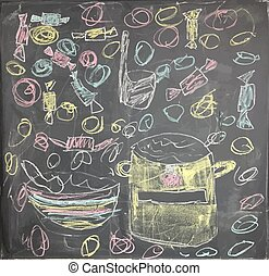 Colorful artistic drawing of chalk with lunch background. Vector Illustration