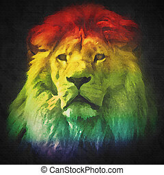 Colorful, artistic portrait of a lion on black background.
