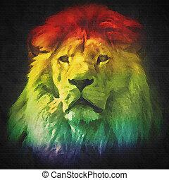 Colorful, artistic portrait of a lion on black background.