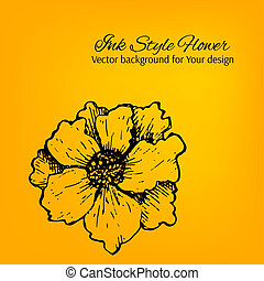 Colorful artistic vector card with hand drawn flower