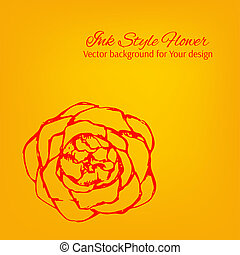 Colorful artistic vector card with hand drawn dotted flower