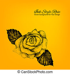 Colorful artistic vector card with hand drawn dotted ink rose