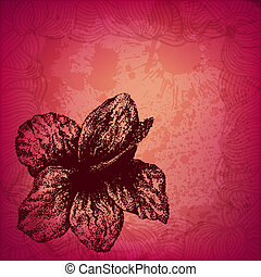 Colorful artistic vector card with hand drawn dotted hibiscus flower