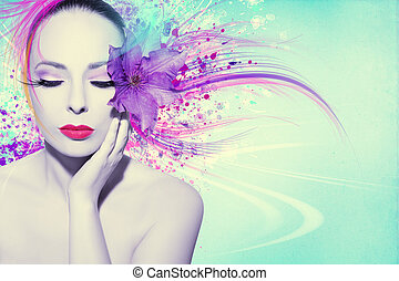 Colorful artwork with beautiful woman