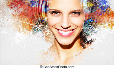Colorful artwork with woman - Colorful artwork with...