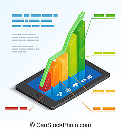 Colorful ascending 3d bar graph on a tablet touchscreen depicting mobile online analytics with a text box template vector illustration