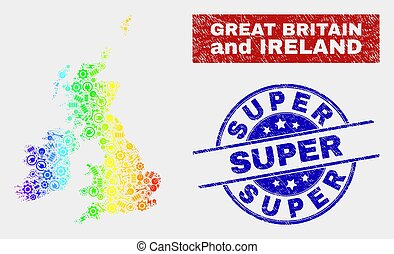 Colorful Assemble Great Britain and Ireland Map and Scratched Super Seals