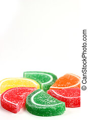 Colorful assorted candy on white background