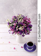 Colorful aster flowers - Bouquet of colorful aster flowers...