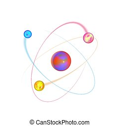 Colorful atom physical structure with bright electron orbits...