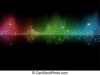 Colorful Audio Wave and Wire Mesh