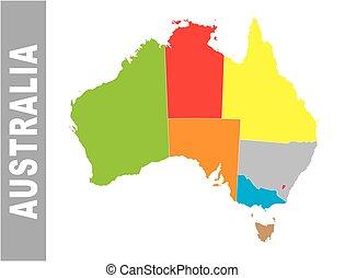 Colorful Australia administrative and political map
