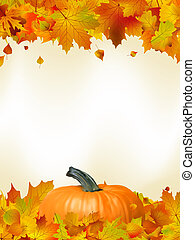 Colorful autumn card leaves with Pumpkin. EPS 8