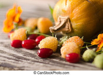 Colorful autumn decoration of pumpkins, yellow raspberries, dogwood and marigold.