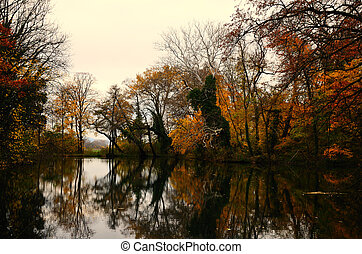 colorful autumn forest with lake with reflection