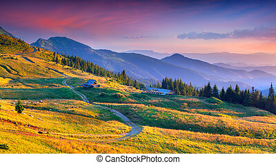 Colorful autumn landscape in mountain village.