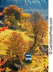 Colorful autumn landscape in the mountain village