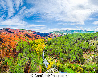 Colorful autumn landscape near Madrid, Castilla y Leon, Spain