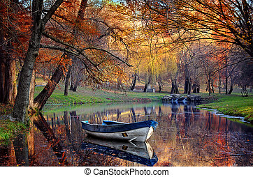Colorful autumn landscape.Nature ba