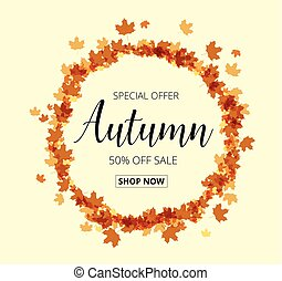 Colorful autumn leaves and sale text. Fall season background.
