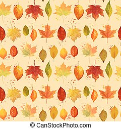 Colorful Autumn Leaves Background - Seamless Pattern - in vector