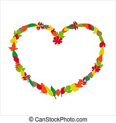 Colorful autumn leaves frame in the shape of a heart. Vector illustration on white background.