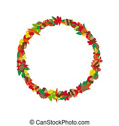 Colorful autumn leaves frame. Vector illustration on white background.