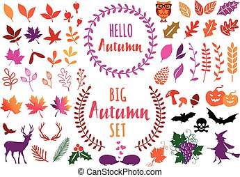 Colorful autumn leaves, set of vector design elements