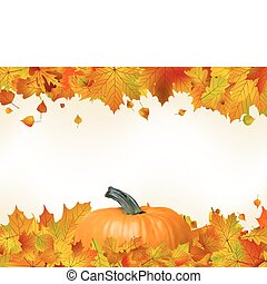 Colorful autumn leaves with Pumpkin. EPS 8