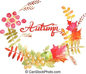 Colorful autumn leaves wreath.