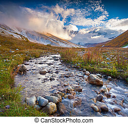 Colorful autumn morning in the Caucasus mountains. - ...