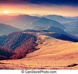 Colorful autumn sunrise in the Carpathian mountains. Krasna...