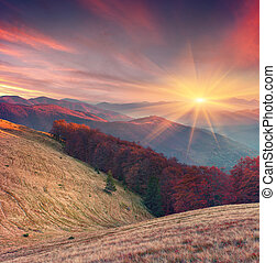 Colorful autumn sunset in the Carpathian mountains....