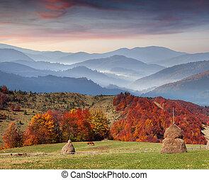Colorful autumn sunset in the Carpathian mountains. Ukraine, Europe.