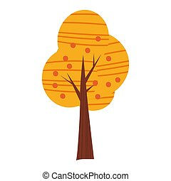 Colorful autumn tree. Cartoon yellow, orange, red fall tree for city park and forest landscape background vector isolated