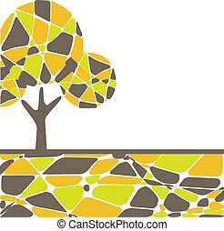 Colorful Autumn tree. Vector