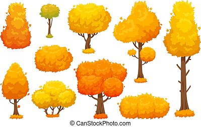 Colorful autumn trees. Cartoon yellow fall tree and autumnal garden bush for landscape background vector set