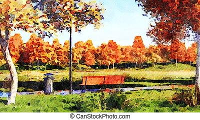 Colorful autumn trees in park watercolor landscape -...