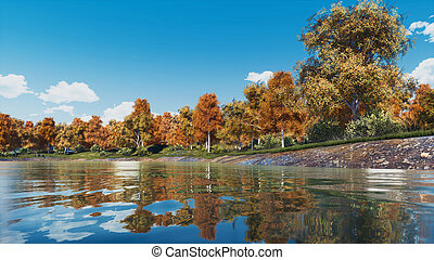 Colorful autumn trees on a forest lake shore
