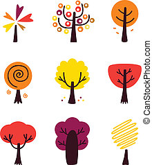 Colorful Autumn Vector Trees set is