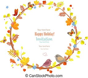 colorful autumn wreath and pretty birds