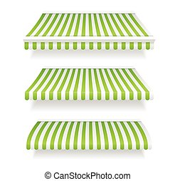 Colorful Awnings for Shop Set Green. Vector
