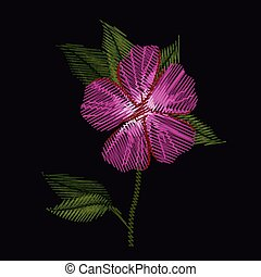 colorful azalea flower plant embroidery in black background ...