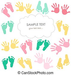 Colorful baby footprint and hands kids greeting card.eps