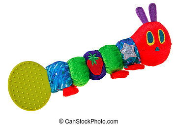 Colorful baby toy rattle bug isolated over white background.